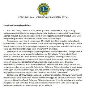 Penjelasan Lions Clubs terkait isu bakti sosial pembagian telur di Tanah Merah Jakarta Utara