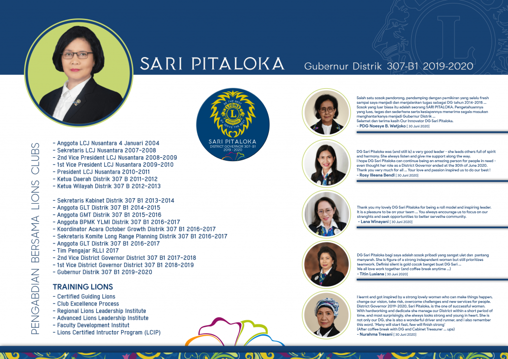 Sari Pitaloka Gubernur DIstrik 307 B1 periode 2019 - 2020